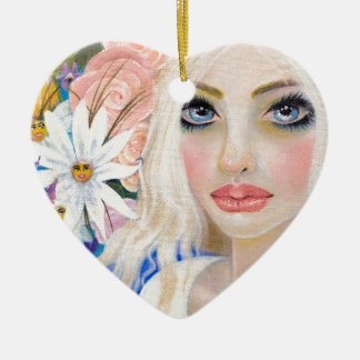 Alice in the Garden of Live Flowers Painting Ceramic Ornament