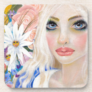 Alice in the Garden of Live Flowers Painting Coaster