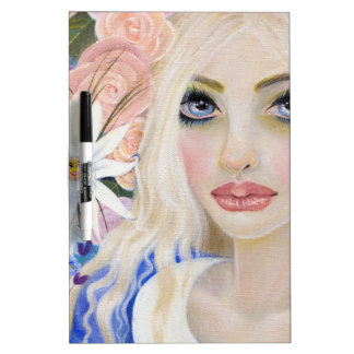 Alice in the Garden of Live Flowers Painting Dry-Erase Board