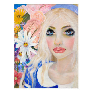 Alice in the Garden of Live Flowers Painting Postcard