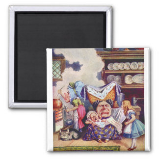 Alice in The Kitchen with the Duchess and Pig Baby 2 Inch Square Magnet