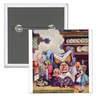 Alice in The Kitchen with the Duchess and Pig Baby Pinback Button