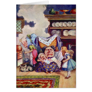 Alice in The Kitchen with the Duchess and Pig Baby Greeting Card