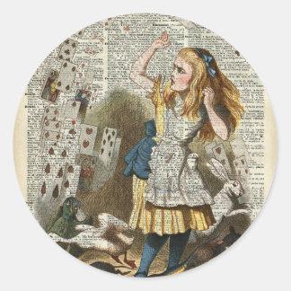 Alice in the wonderland classic round sticker