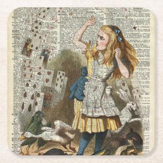 Alice in the wonderland square paper coaster