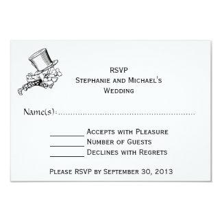 """Alice In Wonderland #2 Wedding RSVP 3.5"""" X 5"""" Invitation Card"""