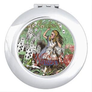 Alice in Wonderland Adventure Vintage Flying Cards Makeup Mirror