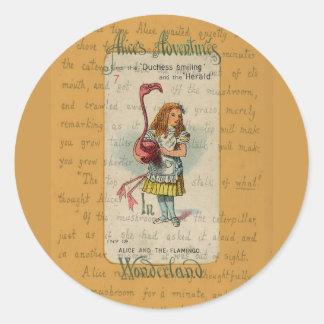 Alice in Wonderland: Alice and the Flamingo Classic Round Sticker
