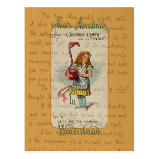 Alice in Wonderland: Alice and the Flamingo Postcard