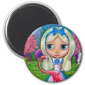 Alice in Wonderland and Flamingo Magnet
