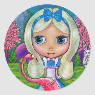 Alice in Wonderland and Flamingo Sticker