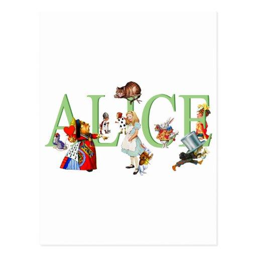 Alice in Wonderland and Friends Postcard
