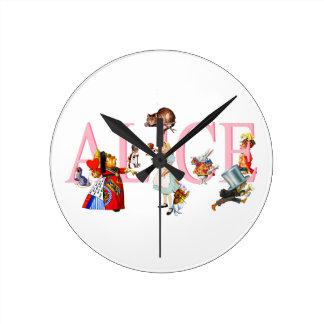 Alice in Wonderland and Friends Round Clock