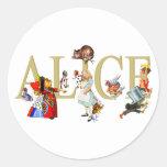 ALICE IN WONDERLAND AND FRIENDS CLASSIC ROUND STICKER
