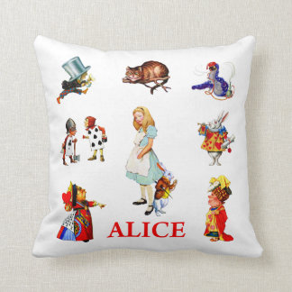 Alice in Wonderland and Friends Throw Pillow