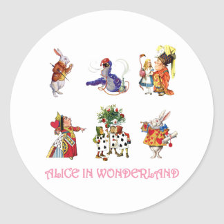 Alice in Wonderland and Her Friends Classic Round Sticker