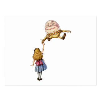 Alice in Wonderland and Humpty Dumpty Postcard