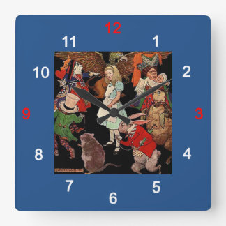 Alice in Wonderland and Jessie Willcox Smith Square Wall Clock