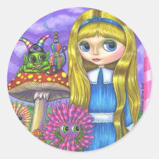 Alice in Wonderland and the Caterpillar Sticker