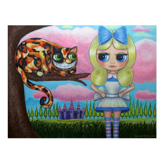 Alice In Wonderland and the Cheshire Cat Postcard