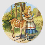 Alice in Wonderland and the Deer Classic Round Sticker