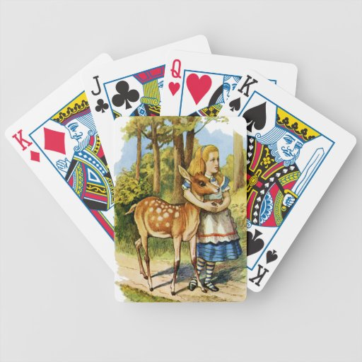 Alice in Wonderland and the Deer Playing Cards