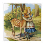 Alice in Wonderland and the Deer Small Square Tile