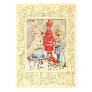 Alice in Wonderland and the Fish Riddle Postcard