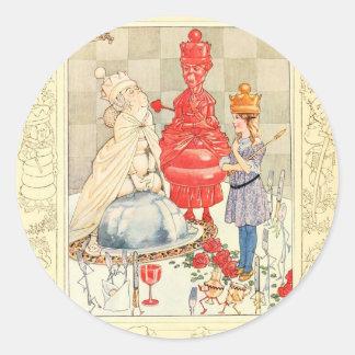 Alice in Wonderland and the Fish Riddle Round Sticker