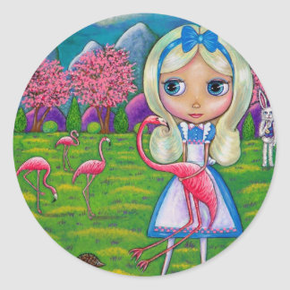 Alice in Wonderland and the Flamingos Sticker