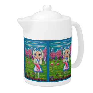 Alice in Wonderland and the Flamingos Teapot