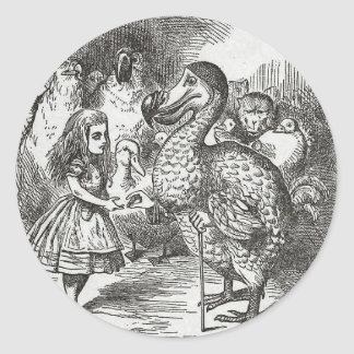 Alice in Wonderland and the Gryphon Round Stickers