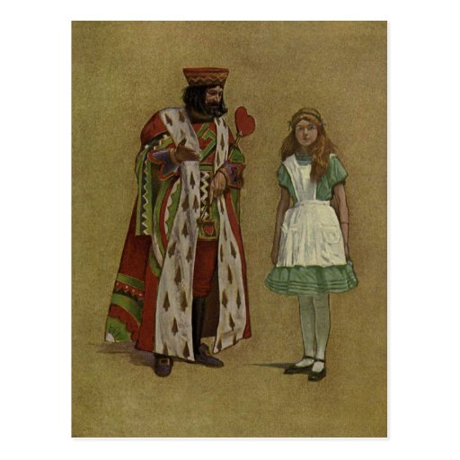 Alice in Wonderland and the King of Hearts Postcard
