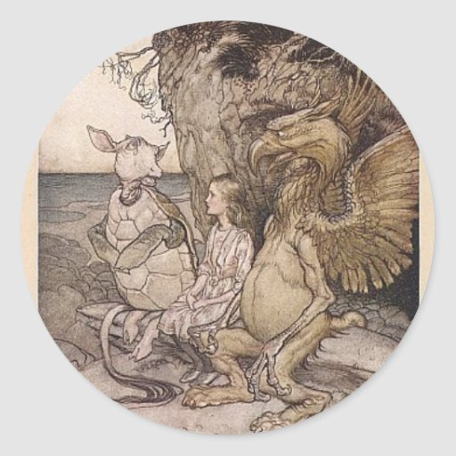 Alice in Wonderland and the Mock Turtle Classic Round Sticker