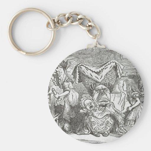 Alice in Wonderland and the Pig Baby Basic Round Button Keychain