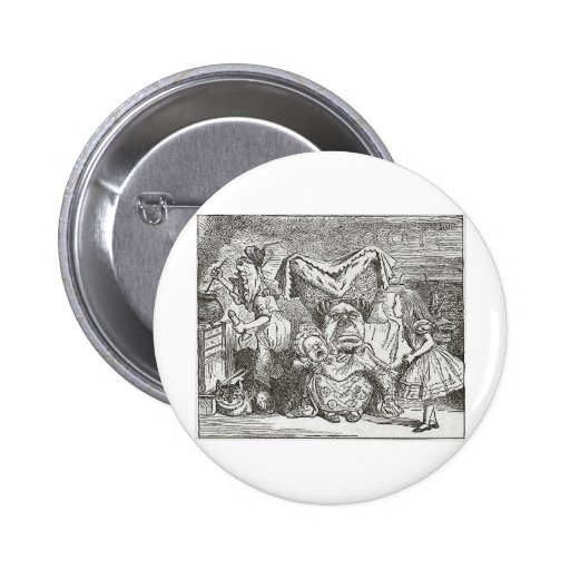 Alice in Wonderland and the Pig Baby Button
