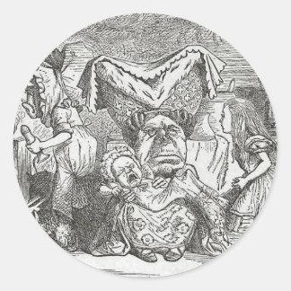 Alice in Wonderland and the Pig Baby Round Sticker