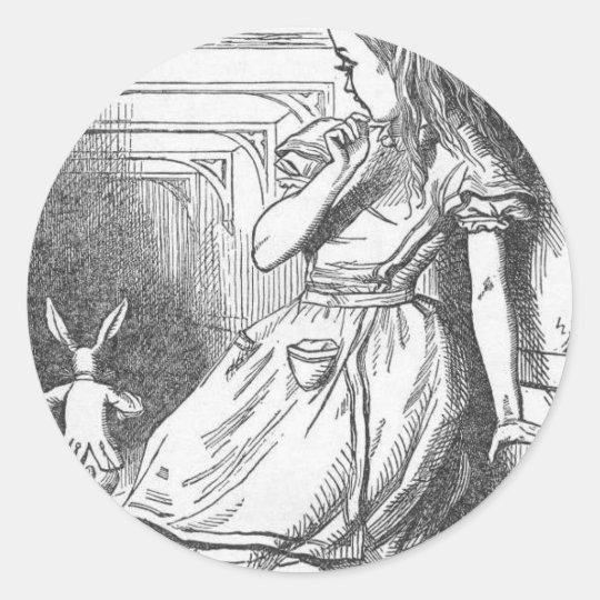 Alice in Wonderland and White Rabbit Classic Round Sticker