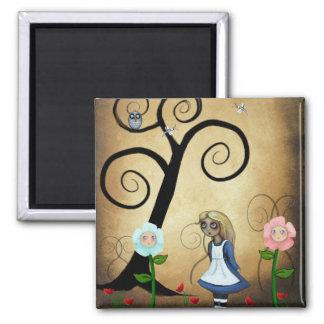 Alice in Wonderland Art Alice and Flowers Magnet