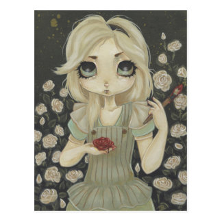 Alice in Wonderland art postcard paint roses red