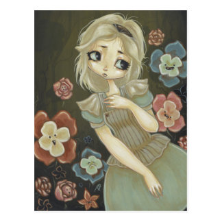 Alice in Wonderland art postcard talking flowers