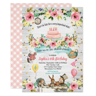 Alice in wonderland birthday invitations zazzle alice in wonderland baby birthday invitation gold filmwisefo