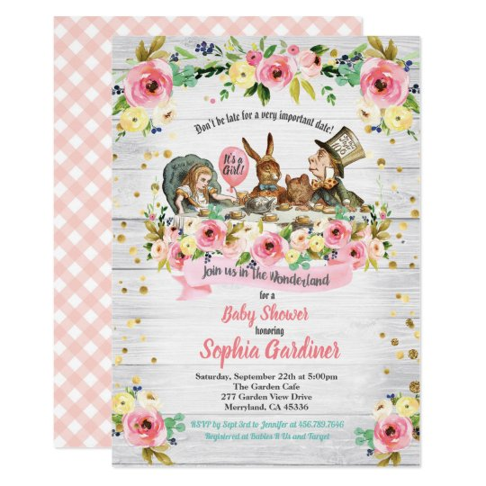Alice In Wonderland Baby Girl Shower Invitation Zazzle Com