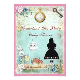 Alice in Wonderland Baby Girl Shower Tea Party 5x7 Paper Invitation Card