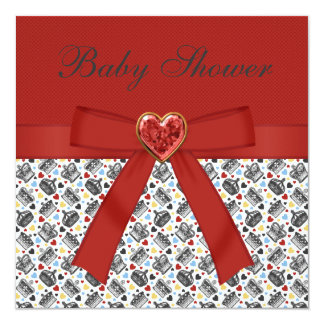 Alice in Wonderland Baby Shower Red Tea Party 5.25x5.25 Square Paper Invitation Card
