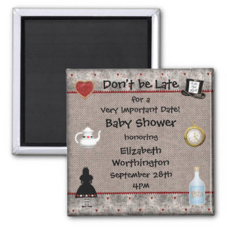 Alice in Wonderland Baby Shower Save the Date 2 Inch Square Magnet