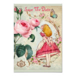 """Alice in Wonderland Baby Shower Save the Date 3.5"""" X 5"""" Invitation Card"""