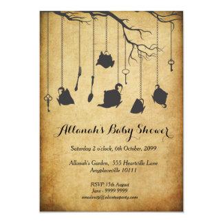 Alice in Wonderland Baby Shower Tea Party 5x7 Paper Invitation Card