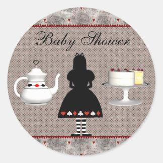 Alice in Wonderland Baby Shower Tea Party Classic Round Sticker