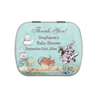 Alice in Wonderland Baby Shower Thank You Favor Jelly Belly Candy Tins